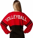 Red & Black Crewneck Oversize Jersey Pullover with Volleyball Imprint