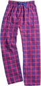 Blue & Red Plaid Flannel Lounge Pants - Choice of 22 Sport Imprints on Leg or Rear