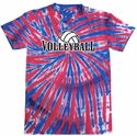 Red & Blue Tie-Dye Volleyball Tee - in 6 Designs