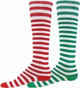 Red & Green Stripes Holiday Mismatch Knee-High Socks
