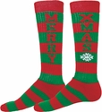 Red & Green Stripes Merry Xmas Holiday Knee-High Socks