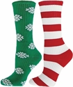 Red Stripes & White Snowflakes Holiday Mismatch Crew Socks