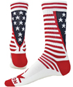 Red White & Blue USA Stripes & Stars Flag Crew Socks