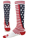 Red White & Blue Stripes & Stars USA Knee-High Socks