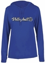 Ladies Royal Blue LS Performance Hooded Tee w/ Volleyball Graphic