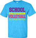 School Is Important, But... Neon Blue Volleyball Design T-Shirt