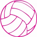 "Small 3"" Pink & White Volleyball Round Decal"