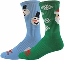 Snowman & Santa Winter Holiday Crew Socks