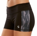 Soffe Dri Black & Velvet Paint Side Ruched Spandex Shorts
