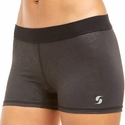 Soffe Dri Black w/ Linear Pattern Spandex Shorts
