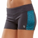 Soffe Dri Grey Heather & Teal Side Ruched Spandex Shorts