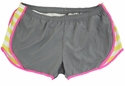 Soffe Grey & Kool Kiwi Stripes w/ Pink Piping Track Shorts