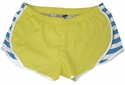 Soffe Kiwi & Bonnie Blue Stripes w/ White Piping Track Shorts