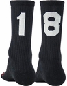 Team Number Solid Black Crew Sock