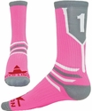 Team Number Prime Bright Pink & Grey Crew Sock
