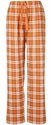 Texas Orange Plaid Flannel Lounge Pants - Choice of 22 Sport Imprints on Leg or Rear