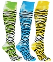Tie Dye Tiger / Zebra Knee High Socks - in 4 Bright Colors