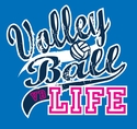 Volley Ball Life Design Neon Blue T-Shirt