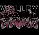 Volley Ball Mom Large Pink Heart Rhinestone Fitted V-Neck Tee