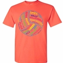 Volleyball Ball & Words Design Bright Coral T-Shirt