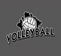 Volleyball Brush Design T-Shirt - in 27 Shirt Colors
