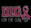 Volleyball Dig for the Cure Pink Ribbon Glitter Rhinestone Fitted Tee