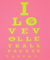Volleyball Eye Chart Design Neon Pink T-Shirt