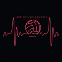 Volleyball Heartbeat Design Black Volleyball T-Shirt