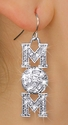 Volleyball Mom Crystal Charm Fishhook Earrings