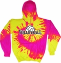 Volleyball Rising Tie-Dye Hooded Sweatshirt - in 6 Bright Colors