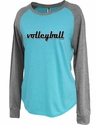 Women's Aqua Blue Jersey Raglan Long Sleeve Volleyball Shirt