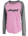 Women's Pink Lilac Jersey Raglan Long Sleeve Volleyball Shirt