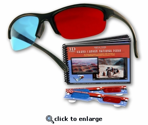 Plastic 3D Glasses - The Original Pro-X Anaglyph 3D Glasses. Includes a Bonus Virtual Tours National Park 3D Booklet...Free!
