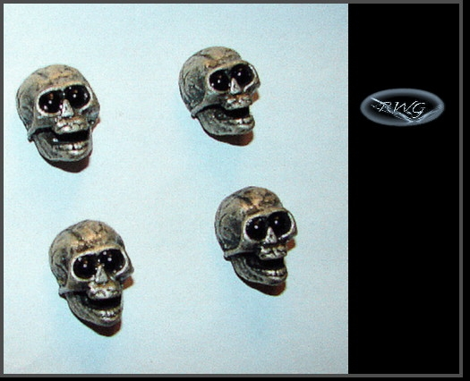 4 Skull Knobs - Black Eyes