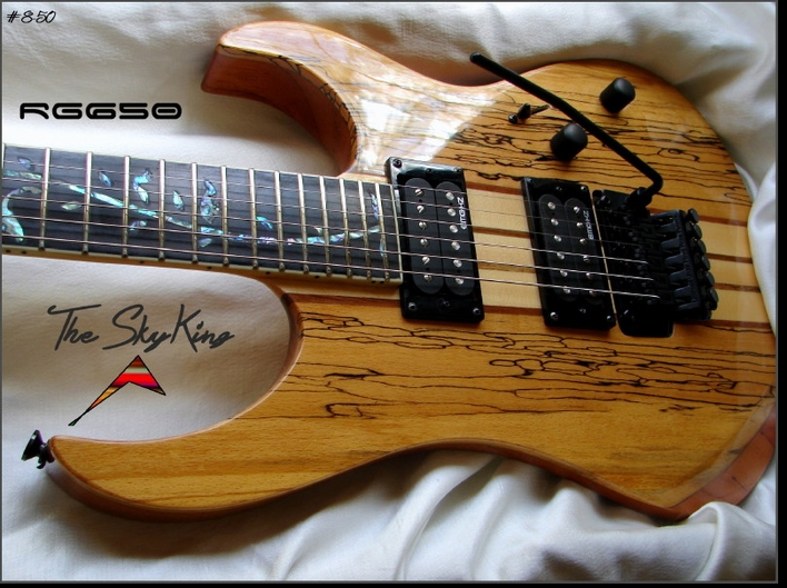 """The SkyKing"" - RG650 SPALTED MAPLE NECK THRU  #8-50"