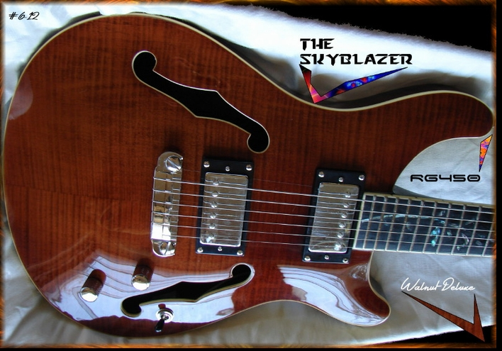 RG450 The SkyBlazer Walnut Deluxe Full Hollow Electric Guitar #6-12