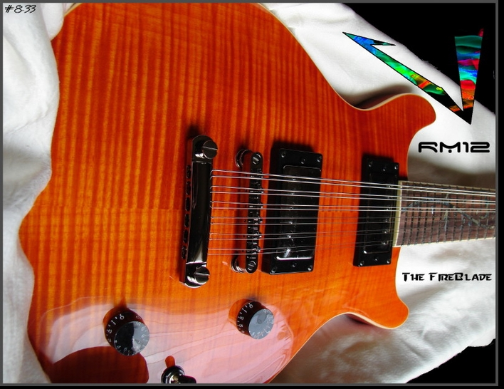 """The FireBlade"" RM12 PROJECT GUITAR AMBER FLAME GLOSS   #8-33"