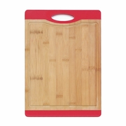 Bamboo Cutting Board with Red Rubber Grip  14 x 10