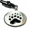 Bear Paw Pewter Pendant on Cord