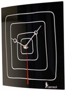 """Black Glass Art Clock with White Lines 9.5""""sq"""