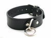 Black Leather Collar with O-Ring and Buckle Small/Medium  10-15in