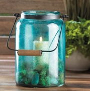 """Blue Jar Candle Lantern  15""""h with handle"""
