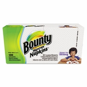 Bounty® Quilted Napkins, 1-Ply, 12.1 x 12, White, 100/Pack,