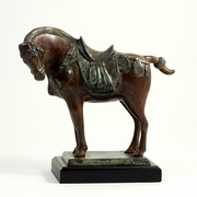 Brass Tang Horse on Wooden  Base