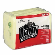 Brawny Industrial Dusting Cloths Quarterfold, 17 x 24, Yellow, 50/Pack, 4 Packs/Carton
