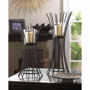 Candle Stand Duo Black Iron Reeds