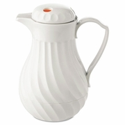 Carafe Poly Lined Swirl Design  40oz  White