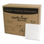 Cascades North River Beverage Napkins, 1 Ply, 4 1/4 x 4 1/4, White, 1000/Pk, 4000/Case