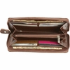Casual Outfitters™ Solid Genuine Brown  Leather Ladies' Accordion Style Wallet
