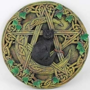 Cat and Pentagram Wall Plaque  7-1/2""